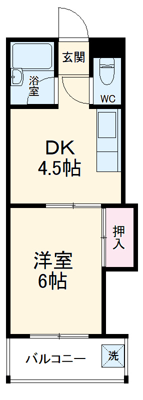 PLEAST吉塚Ⅱ 408号室の間取り