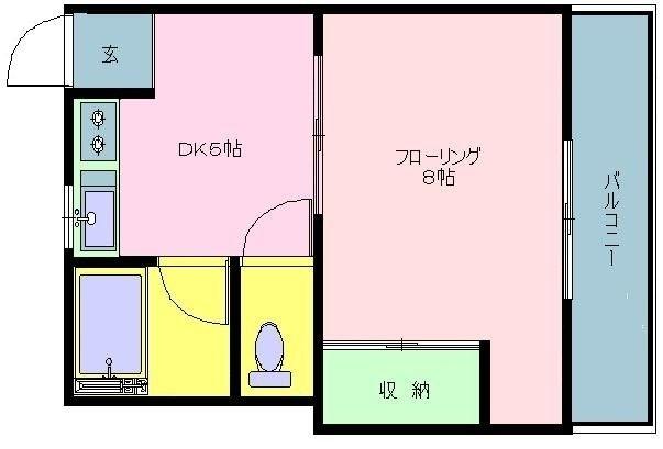 東林寺コーポ 402号室の間取り