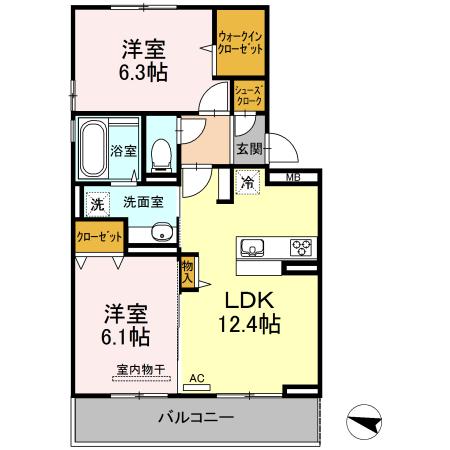 D-roomS・K A棟 205号室の間取り
