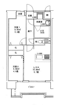 CINQ IWASE BLD B910号室の間取り