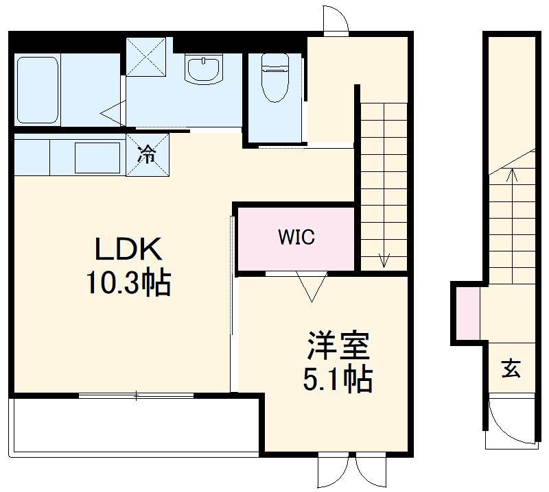 仮)粕屋町内橋新築アパート 201号室の間取り