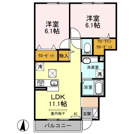 (仮)西新宿6丁目D-ROOM新築工事 102号室の間取り