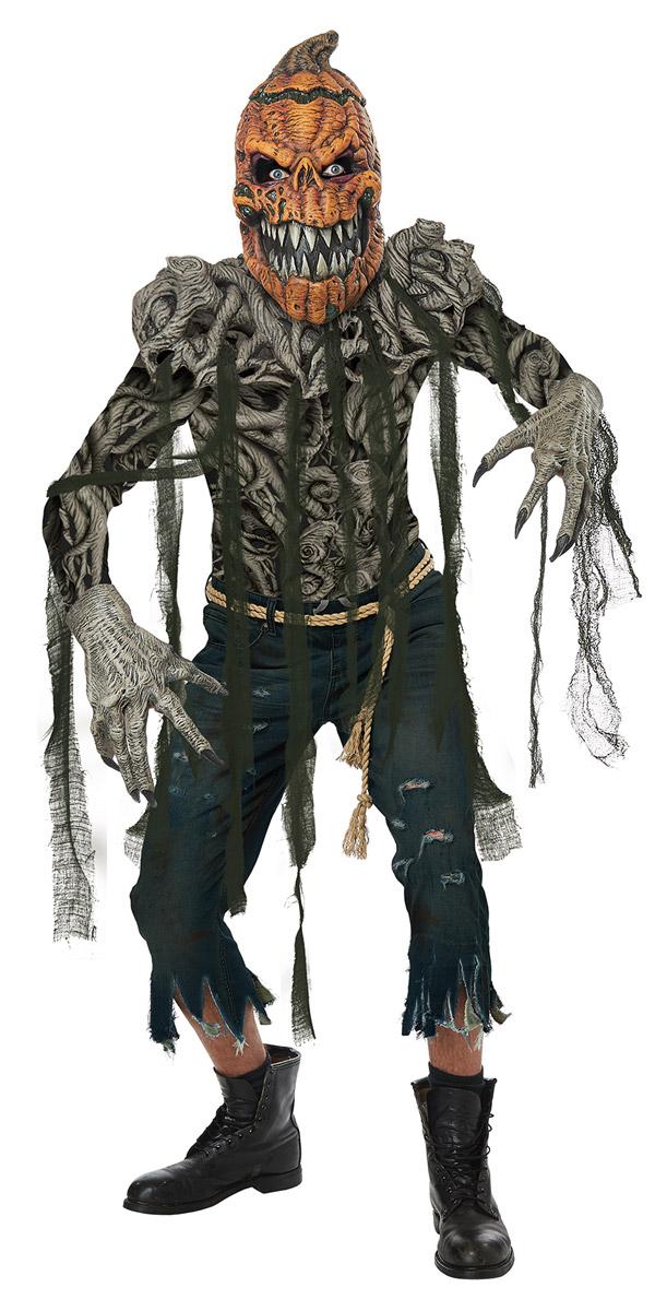 Details about Scary Creepy Spooky Pumpkin Creature Vine Print Halloween  Costume Adult Men