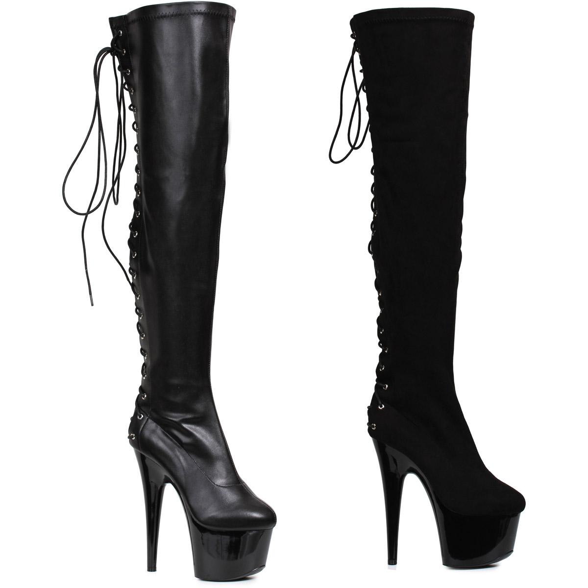 Sexy-Hot-Black-Velvet-Ellie-6-034-Thigh-High-Knee-Boots-Halloween-Shoes-Adult-Women thumbnail 2
