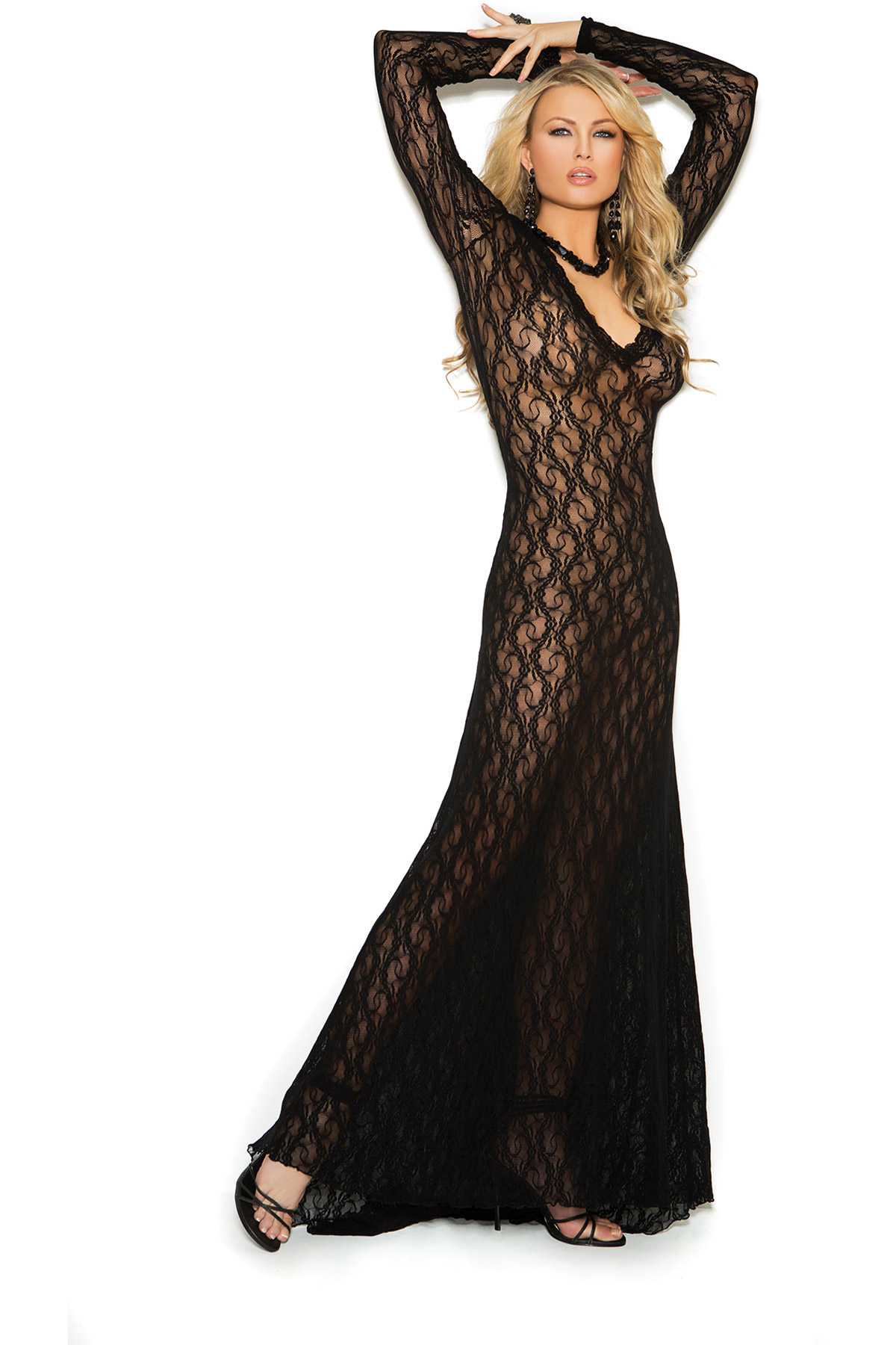 Nightwear Deep V Floral Lace Evening Gown Long Dress Lingerie Adult ...