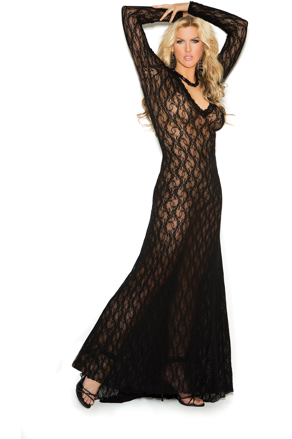 Long Sleeve Lace Gown With Deep V Front by Elegant Moments Women 2x ...