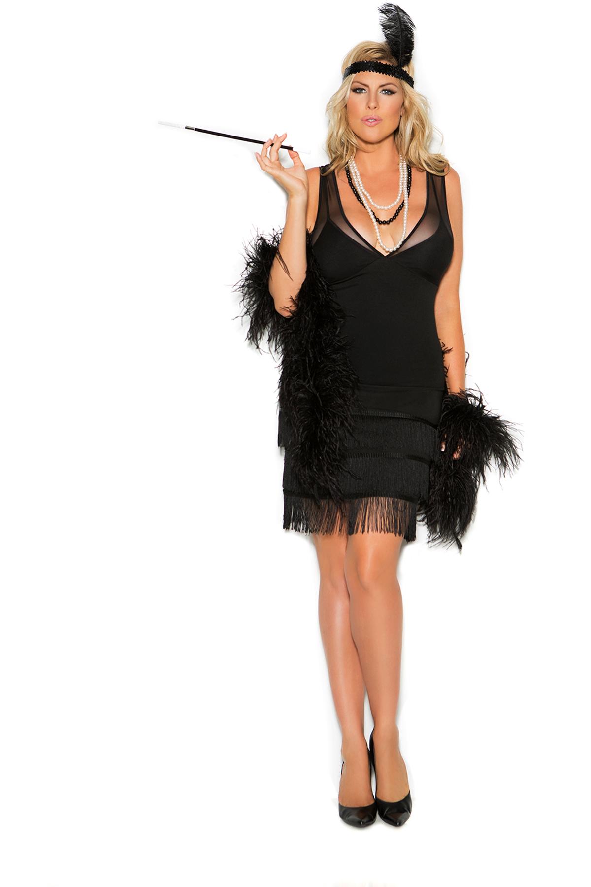Flapper Dress Fringe Sequin Head Piece Feather Costume Set Adult