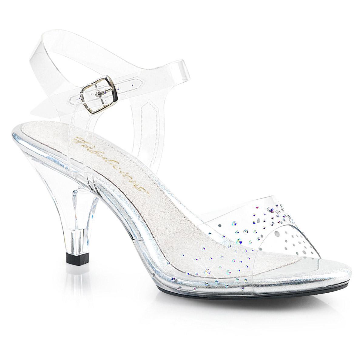 Details about Iridescent Rhinestones Platform Ankle Strap Clear Sandals  Shoes Adult Women