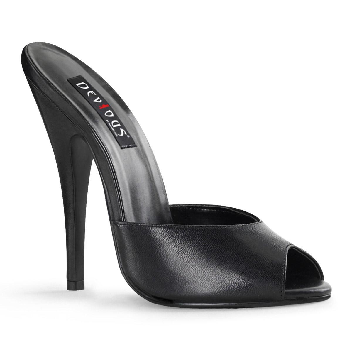 Pleaser 6  Peep Toe Toe Toe Mule Adult Women Sandals Blk Leather shoes e1a826