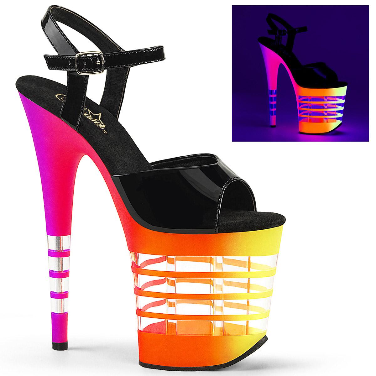 Pleaser 8  Heel Heel Heel 4  Lined Neon UV Reactive B Women Sandals Blk Pat Neon-UVLN a0c592