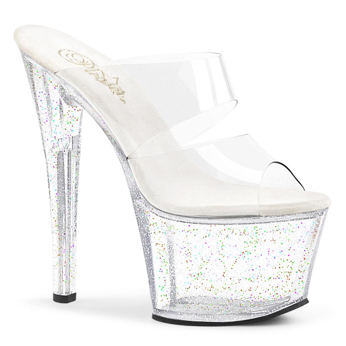 Dual Mini Band Mini Dual Iridescent Glitter Platform Slide Sandales Schuhes Adult Damens Clear 8ff2a6