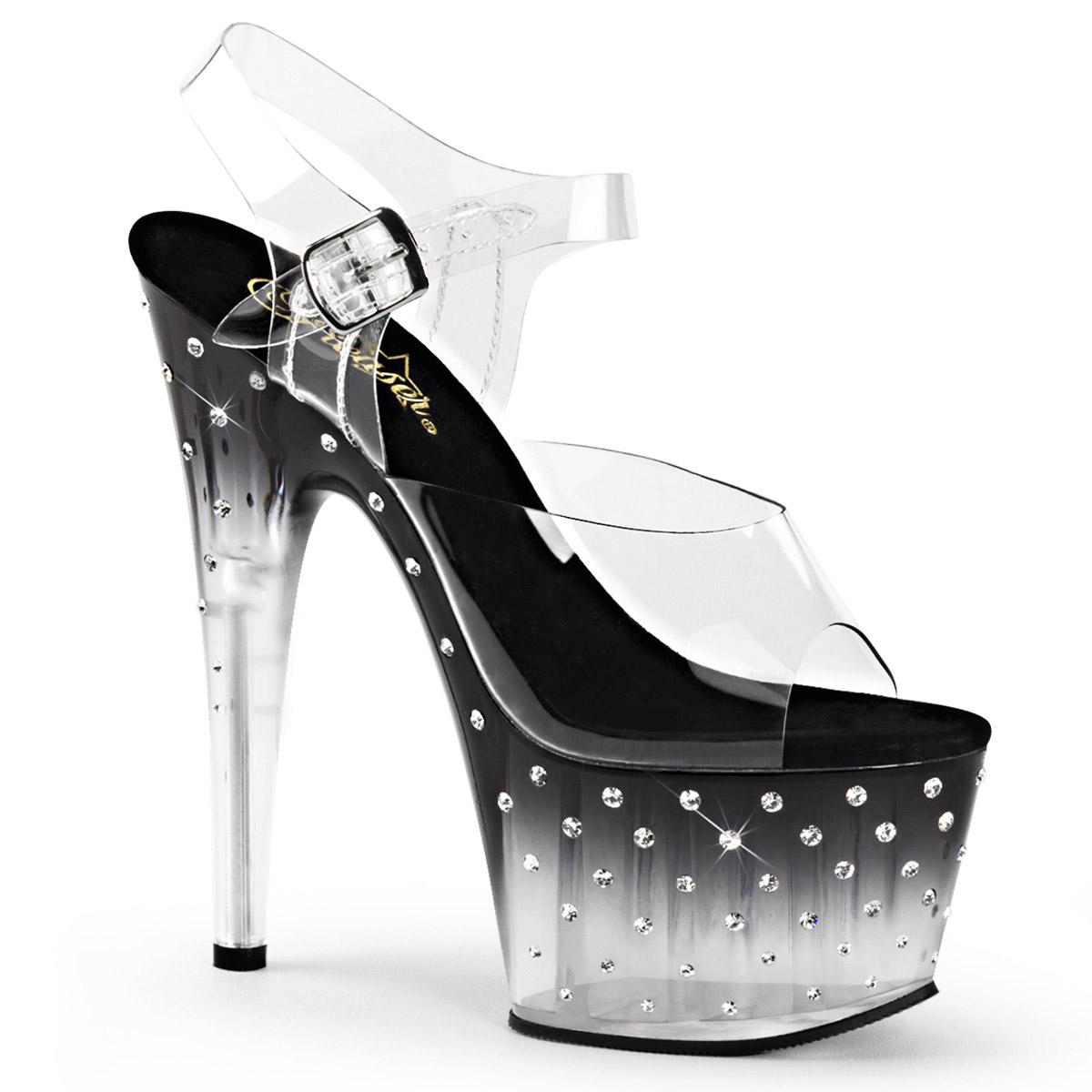 Pleaser y y y Correa en el Tobillo Sandalia Taco de 7  con diamantes de imitación Sandalias de mujer inferior Tachonado clr Negro-CLR  compras en linea