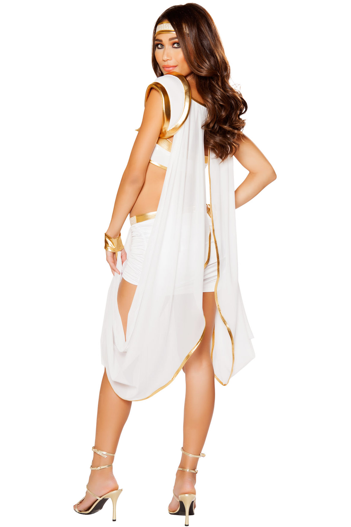dult Gold Draped Hot Costume Front Roman Detail Queen Olympus Dress Women Of