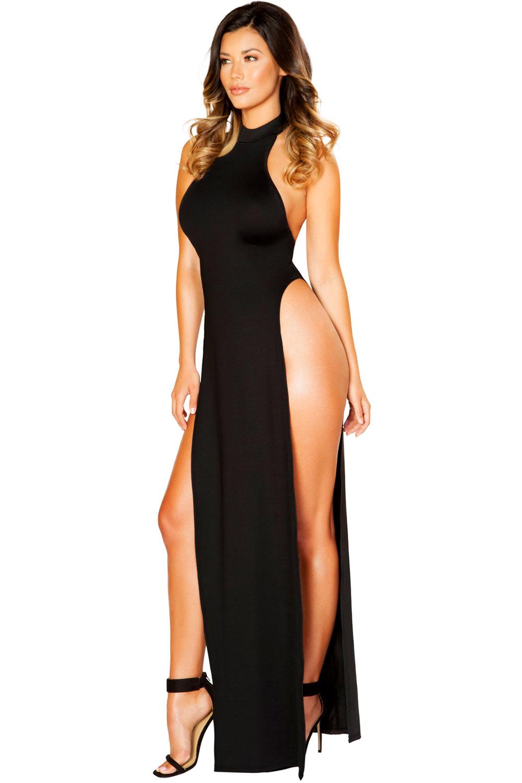 c28cc9de2 Seductive Maxi Length Halter Neck High Slits Long Dress Clubwear ...