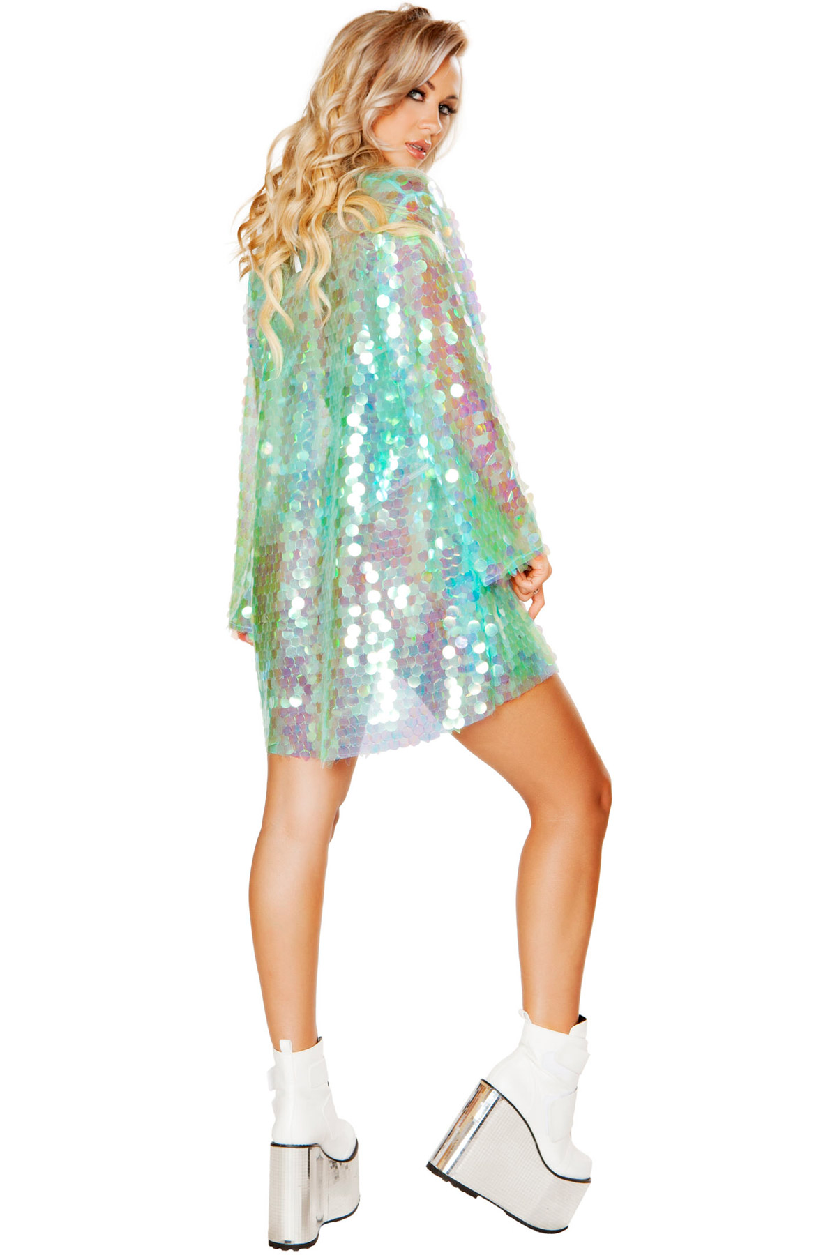 One Clubwear Fun Adulto Paillettes Cute Robe Iridescent Donna Piece Party Jacket 8C5OwwqZnx