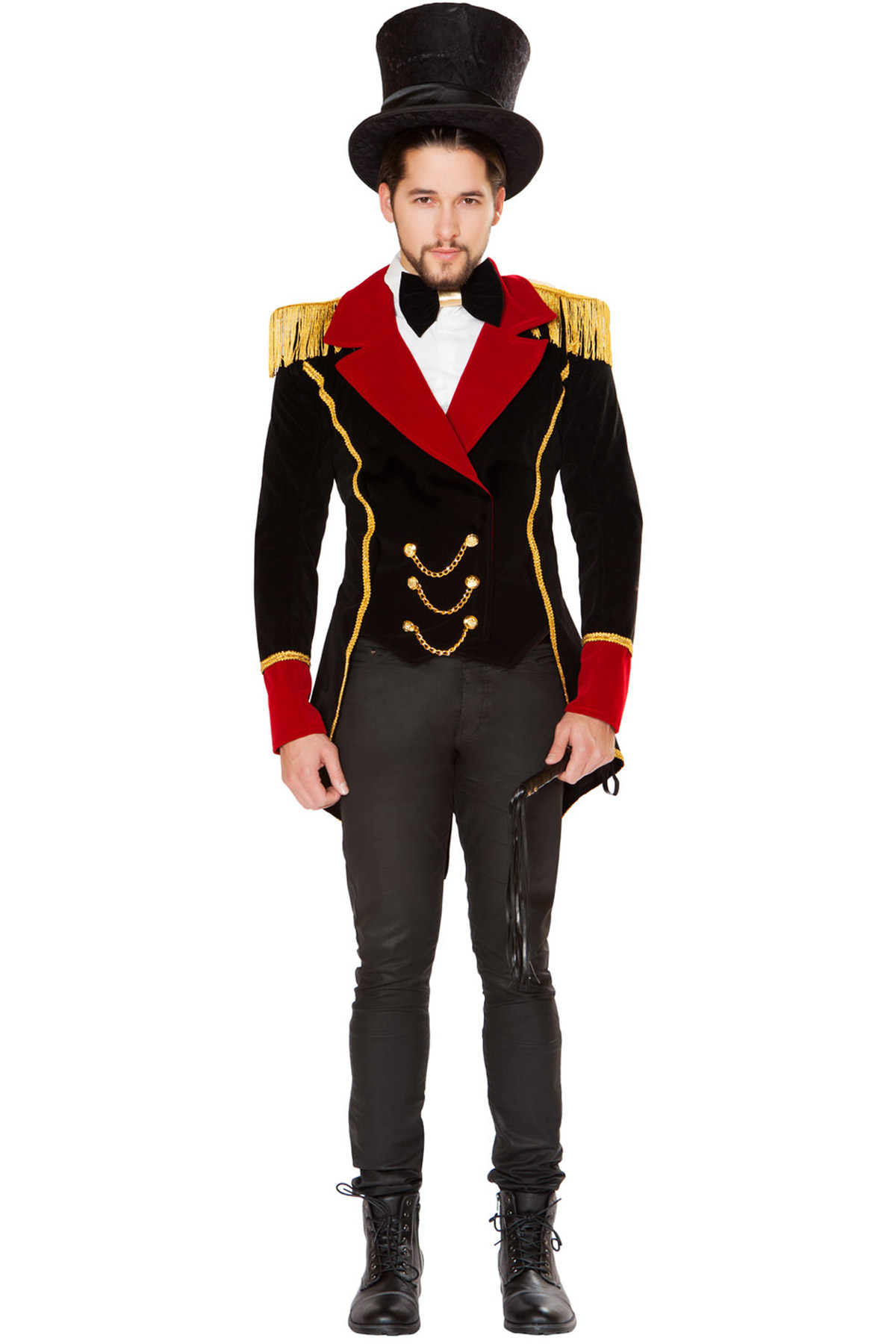Men-039-s-Ringmaster-Jacket-Shoulder-Pads-Bow-  sc 1 st  eBay & Menu0027s Ringmaster Jacket Shoulder Pads Bow Tie Whip Circus Costume ...