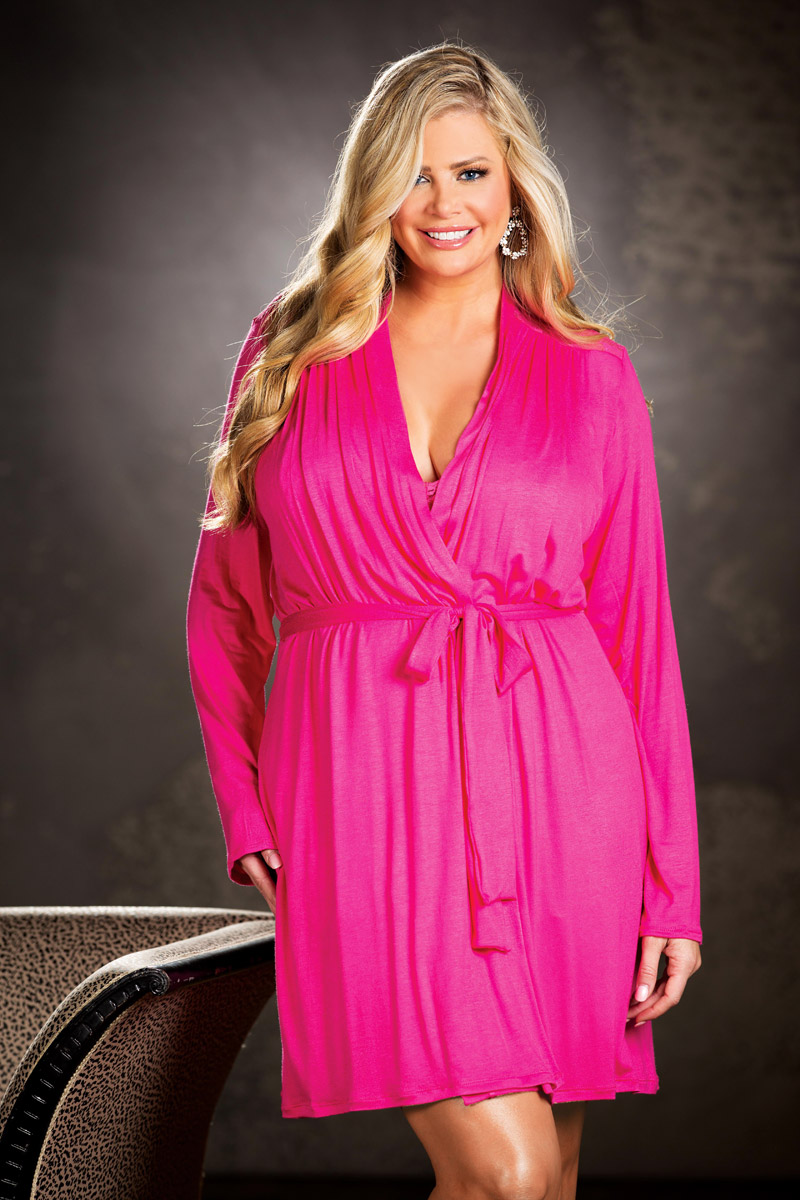 Sexy Alluring Hot Rayon Knit Stretch Lace Robe Lingerie Adult Women ... e2089b2f6
