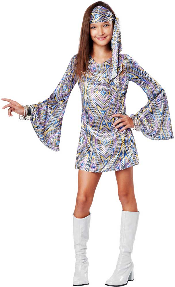 Groovy 70 S Disco Darling Hippie Era Halloween Costume Outfit Child