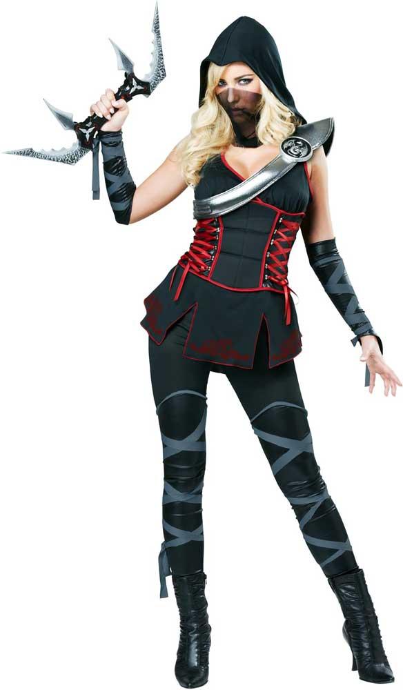 Sexy-Adult-Women-Ninja-Halloween-Costume-Hood-Tunic-  sc 1 st  eBay & Sexy Adult Women Ninja Halloween Costume Hood Tunic Pant Glove Armor ...
