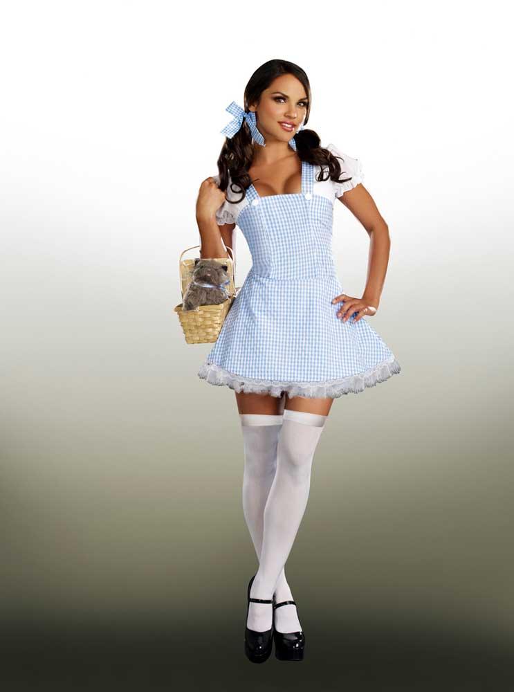 sexy adult women blue gingham dorothy farm girl - Blue Halloween Dress