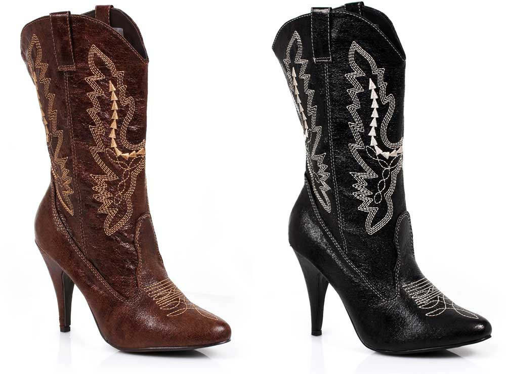 Stitch Embroidery Mid Calf Pointed Cowgirl High Heels Boots Shoes ... 07da66df71ff