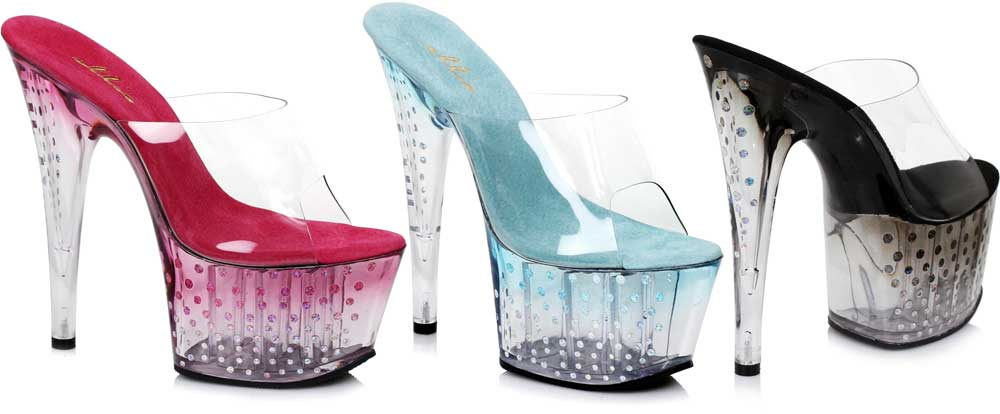 Pink Pink Pink 7 Inch Mule With Glitter Dots Schuhes Heels Adult Damens Ellie 4eb988