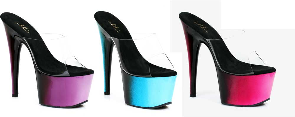 Sexy Ombre Platform Stilettos Two Tone Slip On Mule High Heels Schuhes Adult Damens