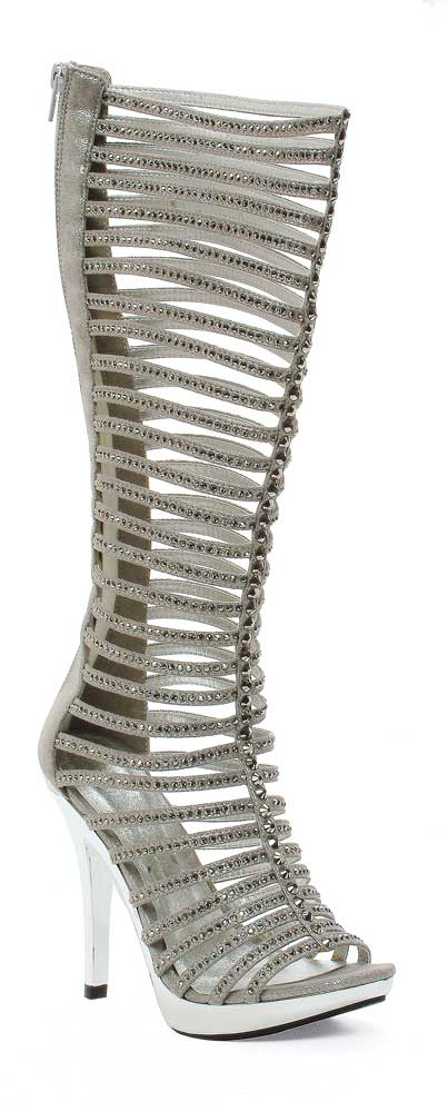 Sexy Knee Zip High Rhinestone Cut Out Zip Knee Sandale High Heel Stiefel Schuhes Adult Damens bb15cc