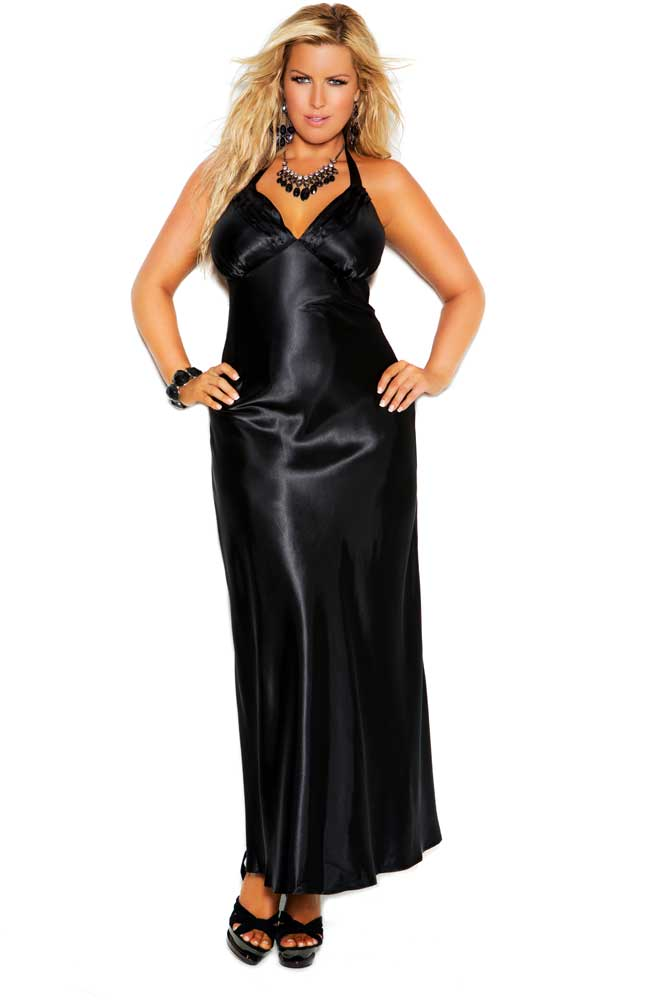 Sensual Satin Halter Neck Evening Gown Long Dress Lingerie Adult