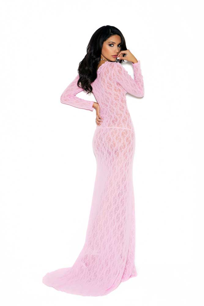 Nightwear Deep V Floral Lace Evening Gown Long Dress Lingerie Adult ...