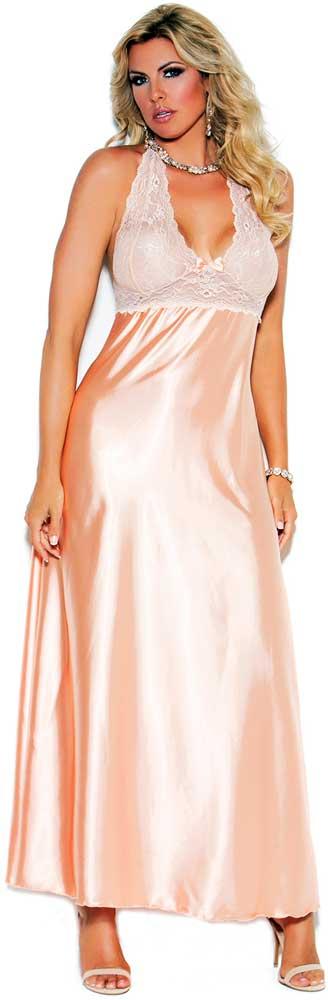 Full Figure Plus Size Lace Charmeuse Halter Gown Lingerie 1x | eBay