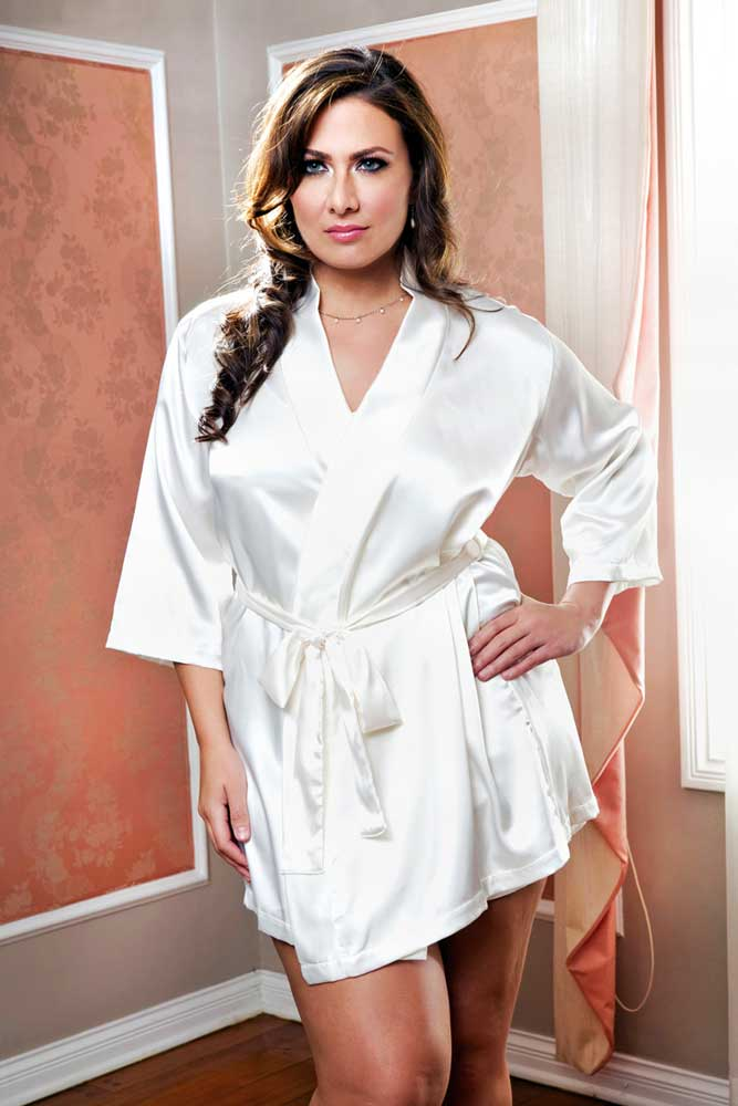 70ca23d57c40 Sexy Sensual Plus Size Lingerie Luxurious 3 4 Sleeve Long Satin Robe ...