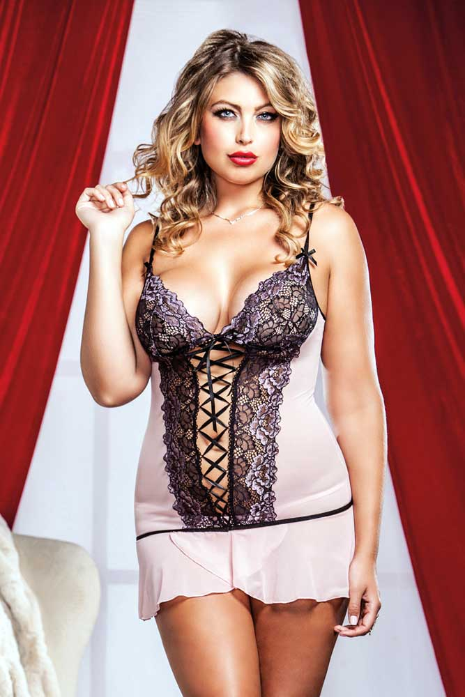 Details about Hot Gorgeous Nightwear Lace Up Mini Dress Chemise Lingerie  Adult Women Plus Size