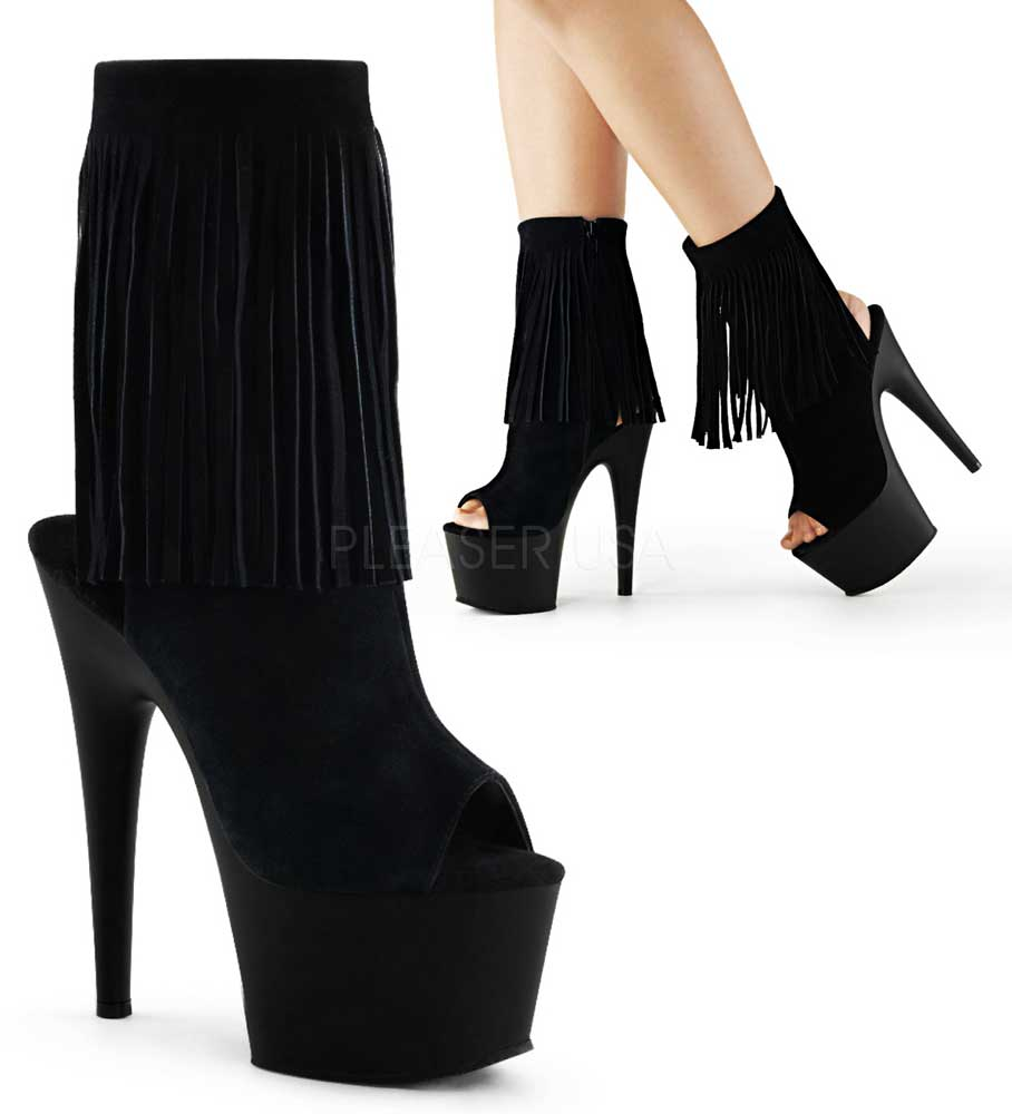 Sexy Fringed Heels Ankle Zip Open Toe Stiletto Platforms High Heels Fringed Schuhes Adult Damens 6530dd