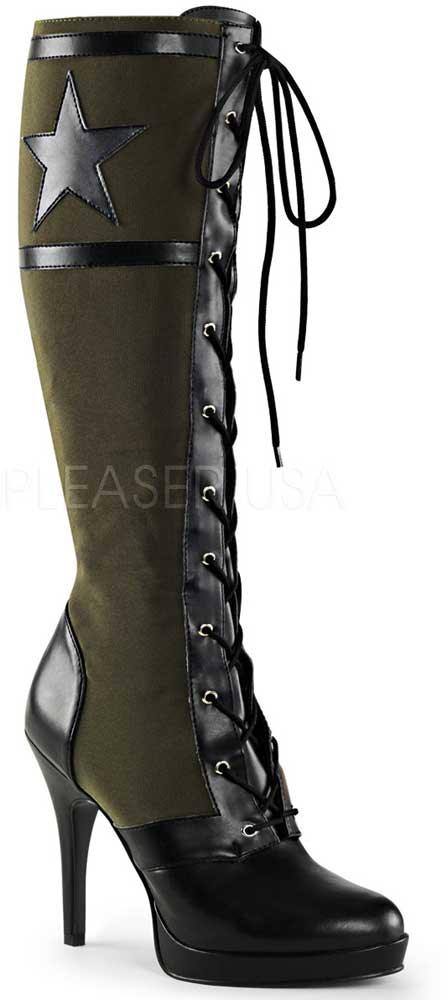 Sexy Army Star Lace Up Stiletto Platform Knee Adult High Heels Stiefel Schuhes Adult Knee Damens cfbbc6