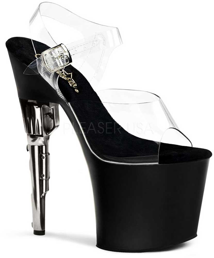 Sexy Revolver Stiletto Platform Clear Strap Sandales Adult High Heels Schuhes Adult Sandales Damens 28e495