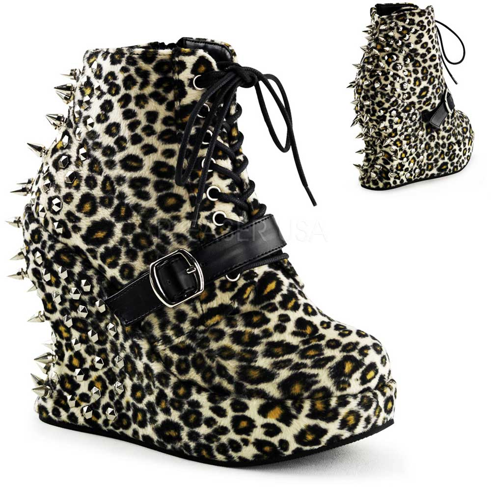 a8096265b5d739 Punk Rock Spike Studded Back Lace Up Wedge Heel Ankle Boots Shoes ...