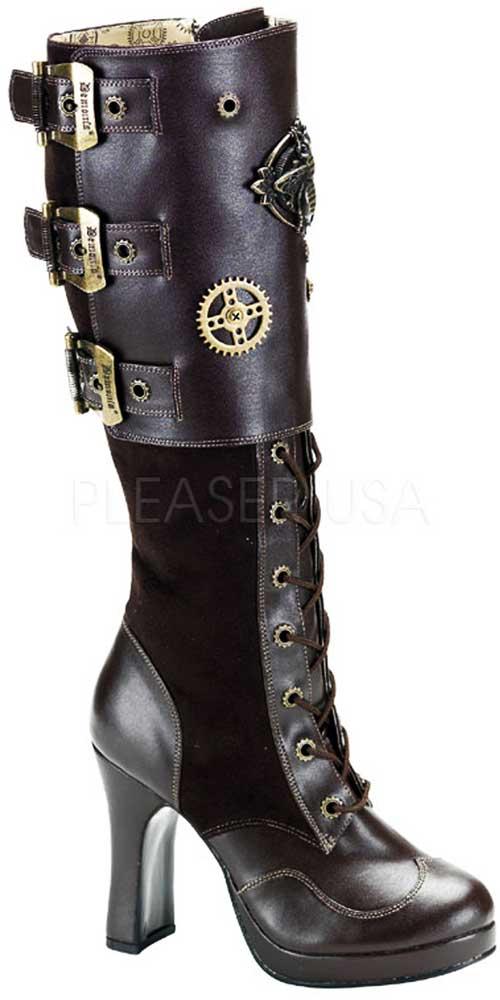 Sexy Steampunk Bee Brass Lace Up Knee High Zip Adult Side Heel Stiefel Schuhes Adult Zip Damens da4e39