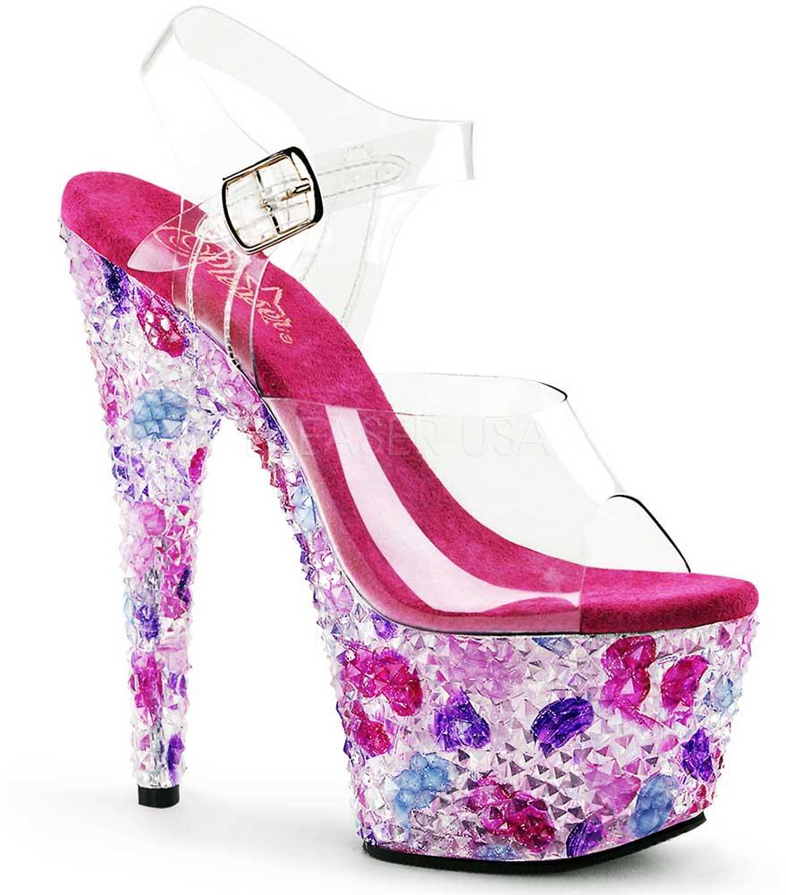 Sexy Pyramid Heels Stones Platform Ankle Strap Sandales High Heels Pyramid Schuhes Adult Damens 8bc4d9