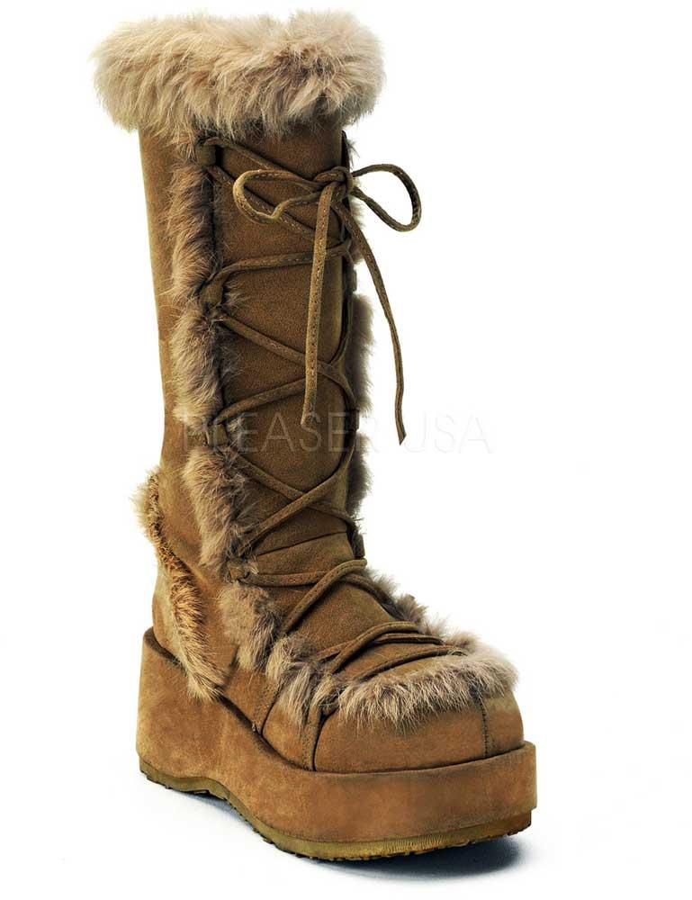 Sexy Faux Suede Rabbit Rabbit Rabbit Fur Knee High Platform Gogo Boots shoes Adult Women edd073