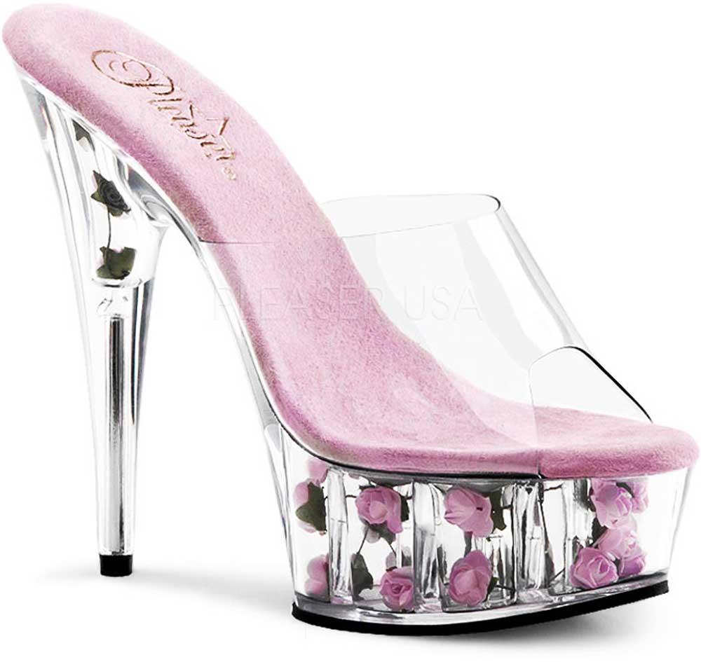 Flower Platform Stiletto Slip On Mules Stripper High Heels Shoes Adult Women