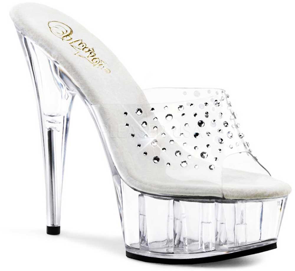 Rhinestone Upper Platform Stiletto Mules Stripper High Heels Schuhes Adult Damens