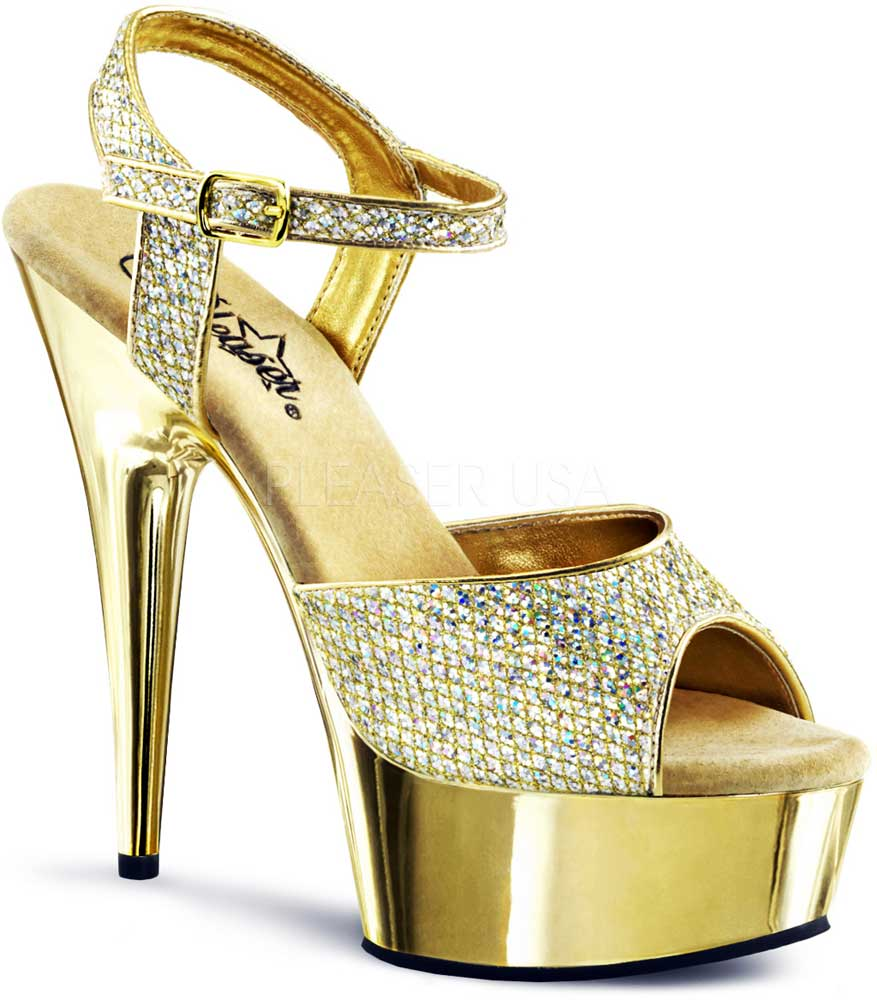 Chrome Platform Stiletto Jeweled Ankle Strap Sandale High Heels Heels Heels Schuhes Adult Damens 07e317