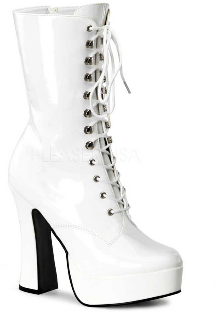 Sexy Platforms Inner Side Zipper Lace Up Mid Calf Heel Stiefel Schuhes Adult Damens