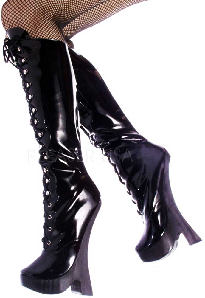 Sexy Knee High Lace Up Stivali Platforms Extreme High Heel Stivali Up Shoes Adult Donna f330e6