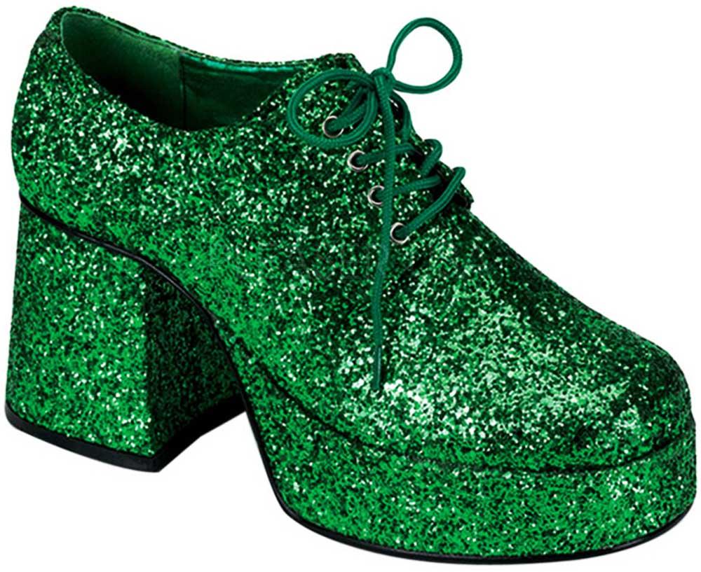 f78010108a96 Groovy 70S Disco Dance Glitter Platform Blucher Block Heels Shoes ...