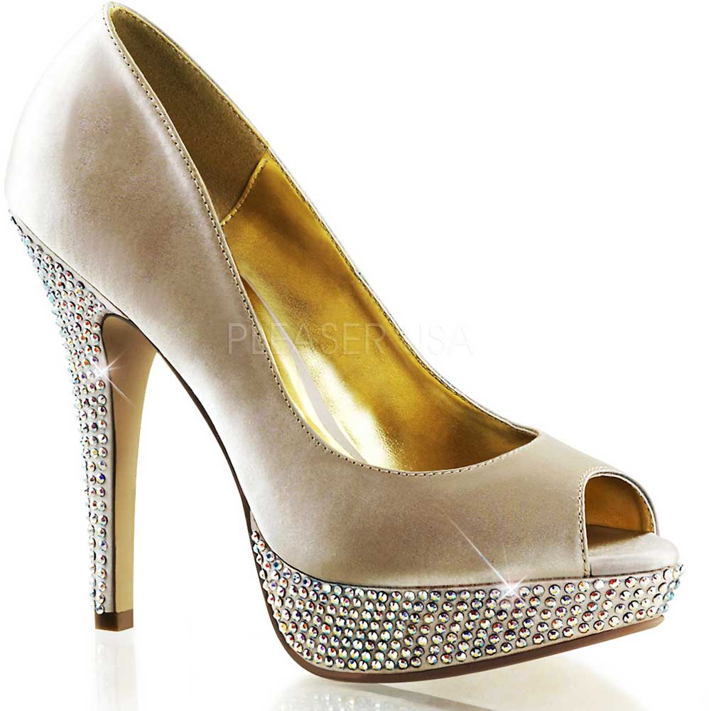 Fabulicious High Heel PEEP Toe Toe Toe PUMPS Satin Rhinestones Platform ... 911e85