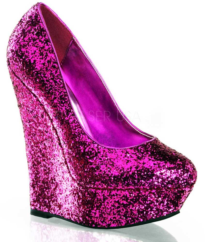 2d3ebbbaae3 Sexy Round Toe Glitter Platform Wedge Pump High Heels Shoes Adult ...