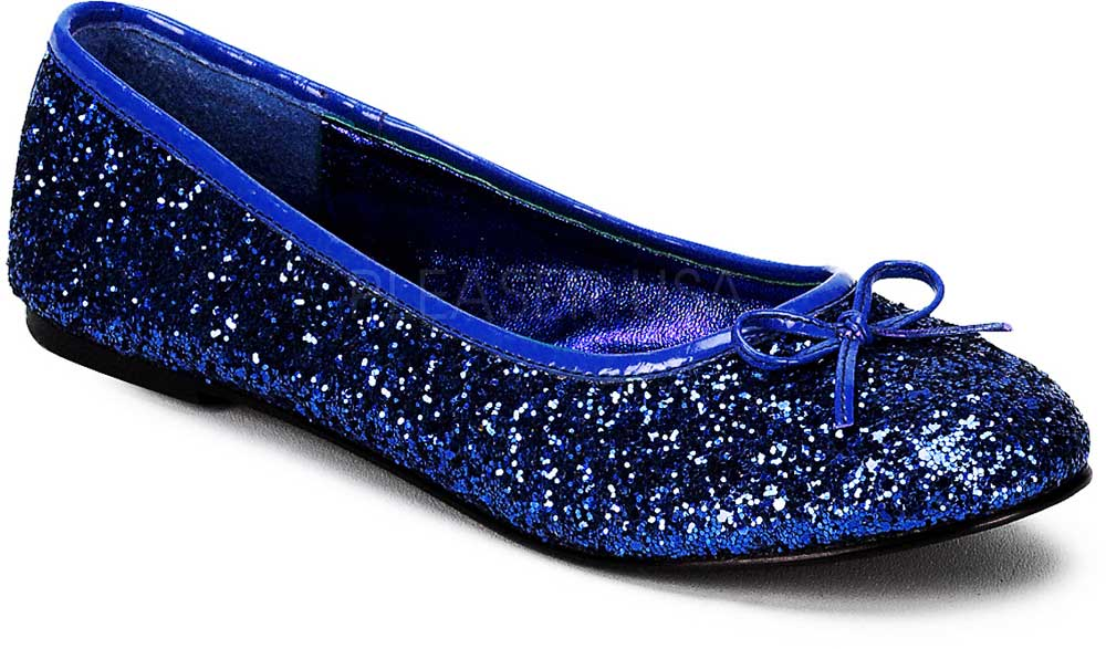 Classic Bow Accent Mary Jane Glitter Slip On Ballet Flats Shoes Adult Women