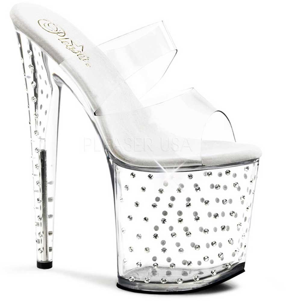 Rhinestone Platform Stiletto Dual Strap Slide Mules High High Mules Heels Schuhes Adult Damens 63d3ff